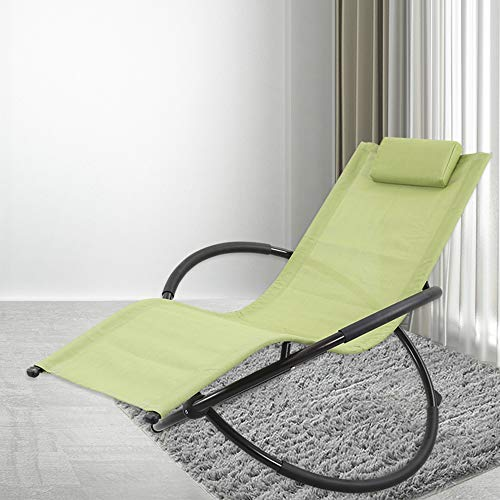 GREARDEN Outdoor Lounge Chair Orbital Zero Gravity Patio Chaise Lounge Rocking Lounger with Removable Pillow Capacity 265 Pounds