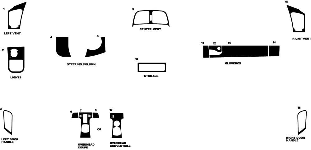Black Matte Rvinyl Rdash Dash Kit Decal Trim for Mercedes-Benz SLK-Class 2005-2011
