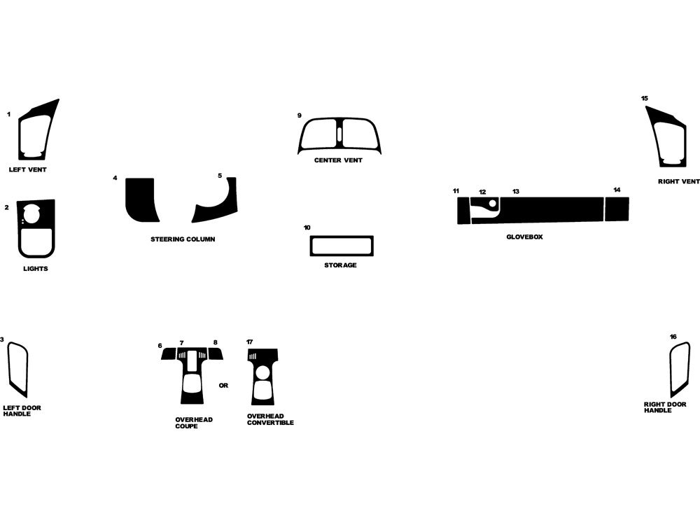 Rdash Dash Kit Decal Trim for Mercedes-Benz CLK-Class 1998-2002 - Wood Grain (Burlwood Honey)
