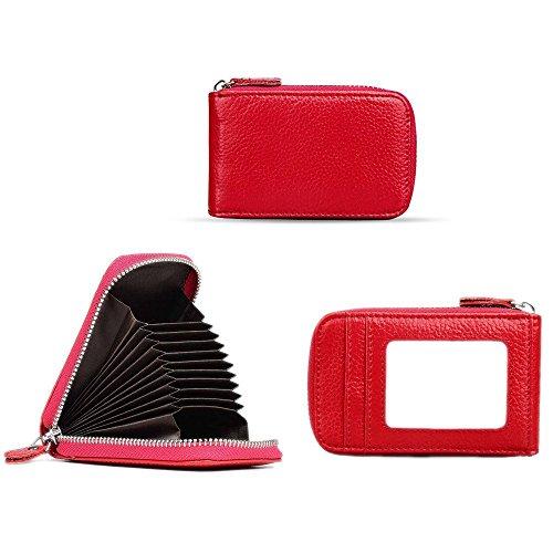 Dames 12 Rfid Cuir Cas Compartiments Titulaire Case Rouge Carte Protection La De Chèques Visite En Hommes Cartes Crédit Vadoo Portefeuille gAwfTZ