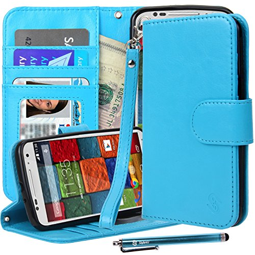 Moto X (2nd Gen) Case, Moto X2 Case, Style4U Premium PU Leather Stand Wallet Flip Case with ID Credit Card / Cash Slots Moto X 2nd Gen 2014 Release + 1 Stylus/1 Screen Protector [Blue]