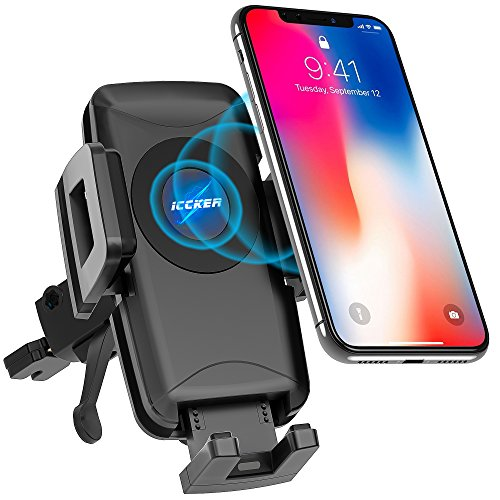 Wireless Car Charger Qi Fast Wireless Charger Air Vent Phone Mount 10W for iPhone X 8/8 Plus Galaxy S9 S9 Plus S8 S7/S7 Edge Note 8 5 Qi Devices etc by ICCKER