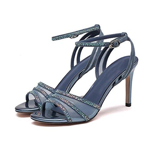 Sandales Femmes Chaoxiang Été Ouvert Orteils Chaussures En Strass Colorés Avec Antidérapante Super Haute Houe Mince 3 Couleurs, Hauteur Du Talon De 8 Cm Bleu