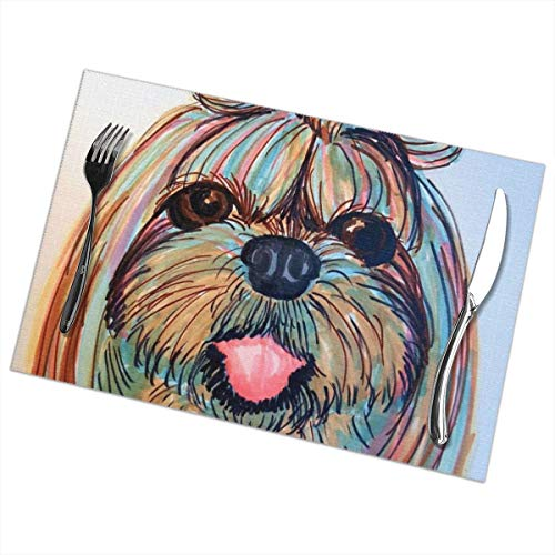 (Nice Music Shih Tzu Head Baby Dog Pupy Women 6 Piece Set of Placemats Pc Party Kitchen Dining Room Home Table Place Mat Patio Holidays Decorations Decor Ornament Themed Print Pattern Kid Girls)