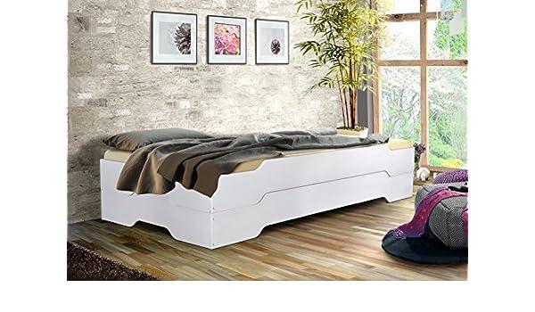 tex-massiv-möbel Cama de Invitados Cama apilables - MIA Soft - 90 x 200 en Color Blanco diseño sin Roll Parrillas: Amazon.es: Hogar
