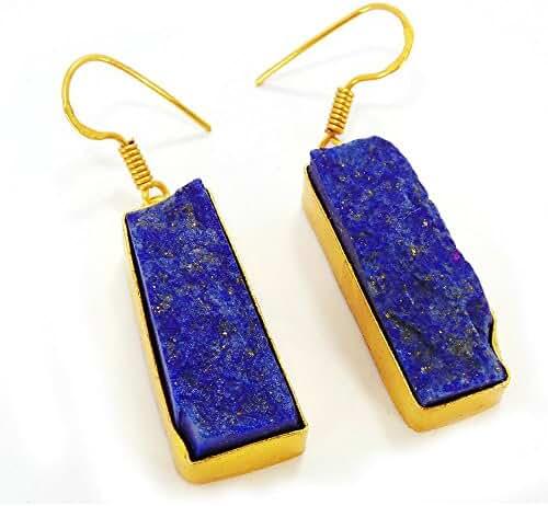 Artisan Handmade Blue Lapis Lazuli Gemstone Dangle Earrings For Everyday Wear
