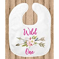 Baby Bib for Girls - 1st Birthday Party Smash Cake Bib - Floral Pink Wild One