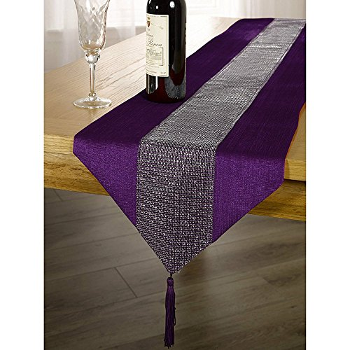 OZXCHIXU(TM 13inch x 72inch Table Runner with Diamante Strip and Tassels (Purple)