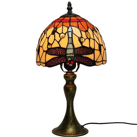 XSGDMN Lámpara Tiffany, lámpara de Mesa de Vidrio con Base de ...