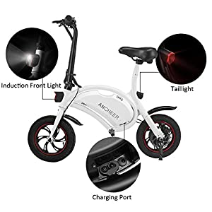 ANCHEER Folding Electric Bicycle/E-Bike/Scooter 350W Ebike with 12 Mile Range, APP Speed Setting (White-6AH)