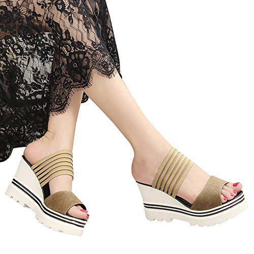 Slippers For Womens -Clearance Sale ,Farjing Women Fish Mouth Platform High Heels Wedges Sandals Open Toe Shoes Slippers(US:6,Khaki) by Farjing