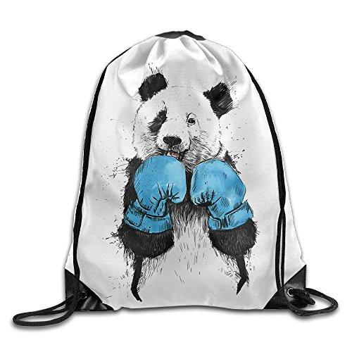 Boxing Panda Cool Drawstring Backpack String Bag by crystars