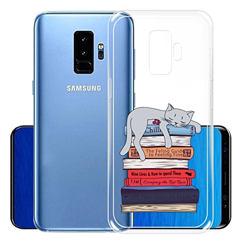 Funda para Samsung Galaxy S9 Plus , IJIA Transparente Adorable Gatito TPU Silicona Suave Cover Tapa Caso Parachoques Carcasa Cubierta para Samsung Galaxy S9 Plus (6.2) (WM104) XY23