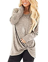 Women's Comfy Casual Long Sleeve Side Twist Knotted Tops...