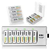 EBL AA Rechargeable Batteries (16 Pack, 2800mAh) with 8 Bay Rechargeable Battery Charger for AA AAA Ni-MH Ni-CD