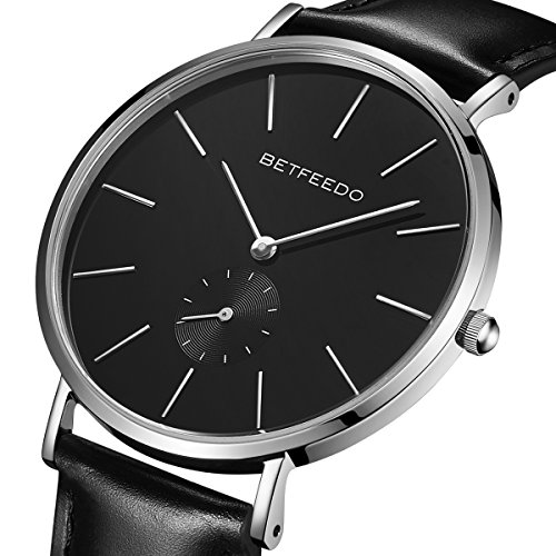 BETFEEDO Men's Black Minimalist Watch, Casual Classic Quartz Wrist Watches with Leather Band,Ceramic Dial (Silver/Black)