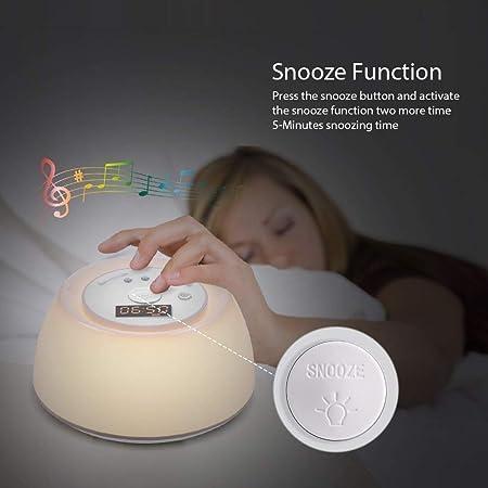 Despertador ligero Despertador Amanecer Luz del sol Simulación, Temporizador de la lámpara de terapia de ayuda para dormir con ruido blanco al atardecer, ...