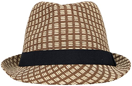 Men / Women's Summer 2 Tone Colored Straw Fedora Hat w/ Black Hat Band,Brown,SM