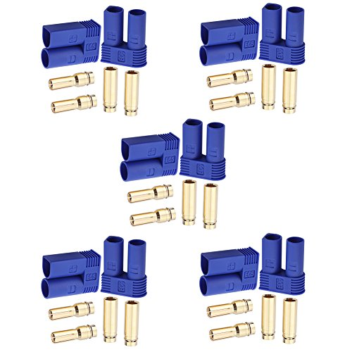 Slide Male Connectors - Hobbypark 5 Pairs EC5 Banana Plug Connectors Female Male 5.0mm Gold Bullet Connector for RC ESC LIPO Battery Device Electric Motor
