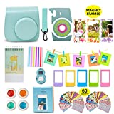Fujifilm Instax Mini 9 Camera Accessories Bundle, ICE BLUE Instax Mini Case, 14 PC Kit Includes: 2 Photo Albums, Color Filter, Selfie lens, Magnets + Hanging + Creative Frames, 60 stickers, Gift Box