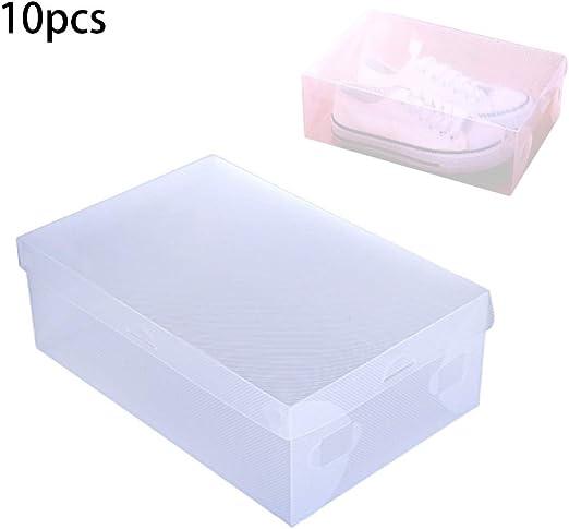 KINLANG 10pcs Transparente Claro de Zapatos de plástico Caja de ...