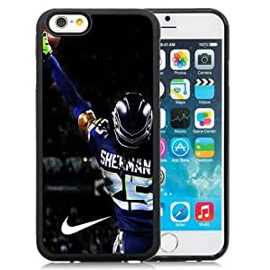Customized Design iPhone 6 Case with American Football Player Richard Sherman Number-25 03 iPhone 6 4.7 Inch TPU Protective Skin Cover Case Black White