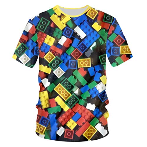 Fashion Men Casual Cool Print Children Toy Lego Bricks 3D T-Shirt Short Sleeve O Neck Pullover -