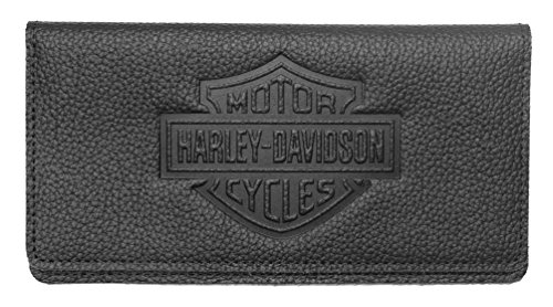 Harley Davidson Embossed Checkbook Leather ZWL4752 BLACK