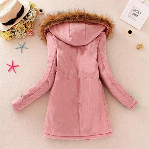 Rosa Manadlian piel para Outwear Abrigo capucha mujeres cálido de con mujer Chaqueta y de cuello Parka de Chaqueta invierno largo pwSHHq