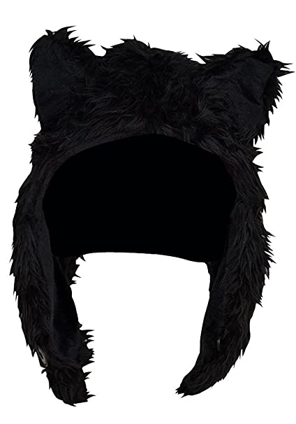 47391eaa2ec Amazon.com  Faux FUR Animal Winter Snow Hat Hoods Black Wolf Ski ...