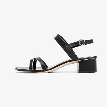 YQQ Clip Zapatos De Tacón Bajo Zapatos De Primavera Sandalias De Verano Zapatos De Mujer Niña