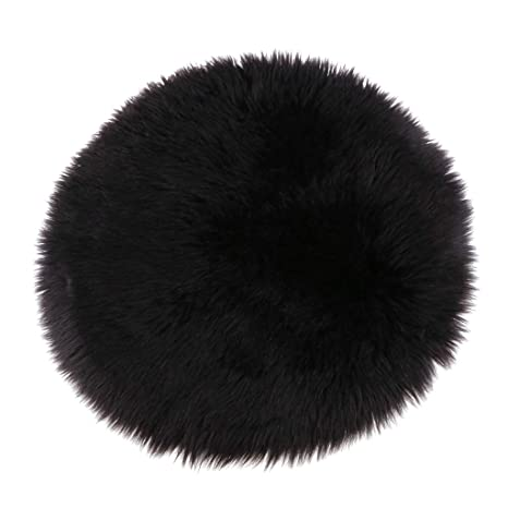 Fenteer Faux Fur Sheepskin Round Car Stool Seat Cushion Floor Mat Furry Sofa Pad   Black, 33cm by Fenteer