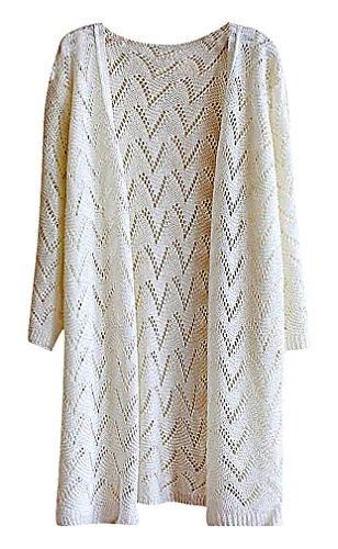 Maze, Women's Wavy Pattern Crochet Crop Sleeve Split Hem Edge To Ege Cardigan, White One Size (Gold Crochet Cardigan)