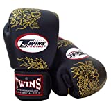 Twins Muay Thai - Boxing/Sparring Gloves. FBGV6 Dragon - Black/Gold. Leather gloves with vectro straps. (12 oz)
