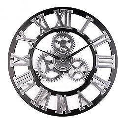 45cm /18inch Wall Clock Decorative Retro Gear Design Round Wall Clock Antique Handmade Wooden Vintage 3D Gear Design (Roman silver)