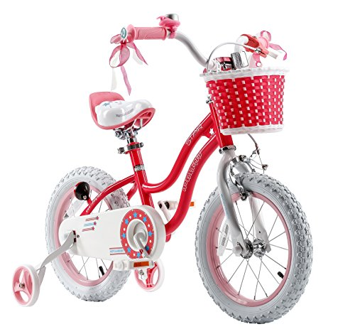 Royalbaby RB12G-1P Stargirl Girl's Bike with Training Wheels and Basket, for Kids. 12 Inch Wheels, Pink ()