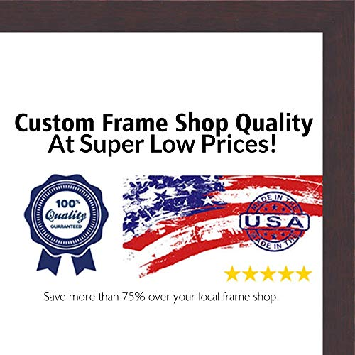 Poster Palooza 16x24 Traditional Walnut Wood Shadow Box Frame - UV Acrylic, Acid Free Backing, Hanging Hardware Included!