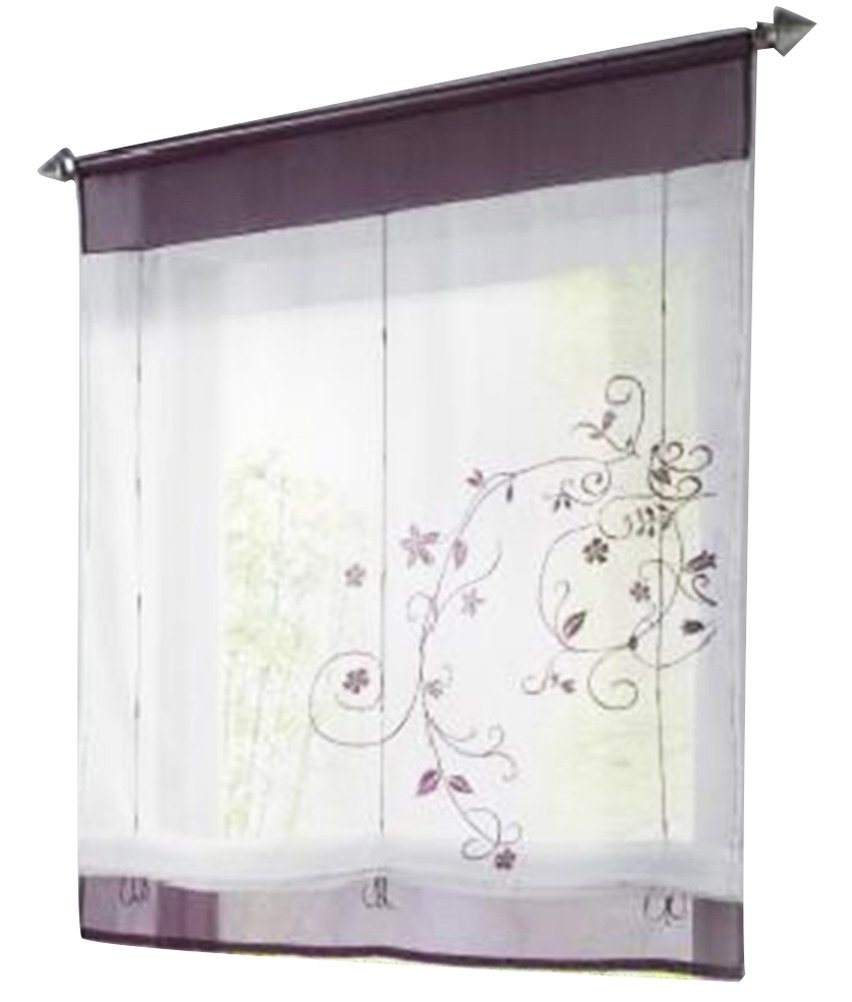 1pcs Country Style Floral Embroidered Roman Shades Ribbon Adjustable LivebyCare Organza Tab Top Rod Pocket Sheer Balcony Window Curtain for Coffee House Shop