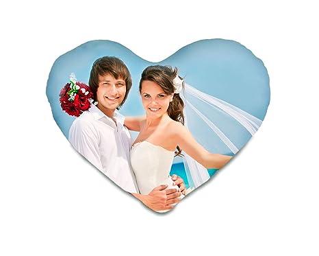 Cojín corazón personalizado con tu foto, estampación total a ...