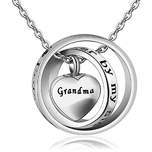 MEMORIALU Urn Necklaces for Ashes Grandma Cremation Jewelry Locket Memorial Keepsake Forever in My Heart (Forever In My Heart Lockets And Charms)