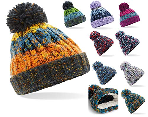 Retro 4sold y Skullies Torsades Gorros rosa Poked Varios Para Winter Big Azul Talla Cable Pompom con Fur Boy colores Unisex A nica punto Bonnet Girl pqrOpgIw