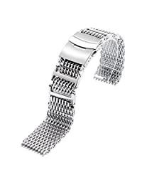 YISUYA 22mm Bracelet SHARK Mesh 316L Dive Watch Strap Stainless Steel Polished Silver Band
