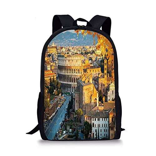 School Bags Italy,Colosseum in Rome Amphitheater Ancient Historical Architecture Evening Decorative,Marigold Ivory Pale Blue for Boys&Girls Mens Sport Daypack ()