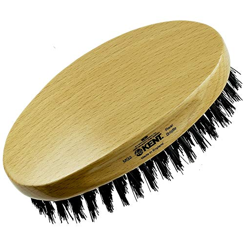 Kent MG2 Oval 100% Natural Beechwood Military Hair Brush with Medium Strength Pure Black Bristle for Men - Suitable for All Hair Types, Stimulates and Nourishes the Scalp