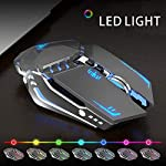 TENMOS T12 Wireless Gaming Mouse Rechargeable, 2.4G Silent Optical Wireless Computer Mice with Changeable LED Light…
