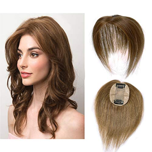 """Silk Base Real Human Hair Topper for Women Top Hairpiece Clips in Crown Hand Made Toupee Replacement Extentions for Hair Loss Thinning Hair Cover Gray Hair #06 Light Brown 14"""""""