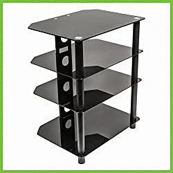 NavePoint Media Stand Glass 4 Shelf Audio Video Component Storage Tower