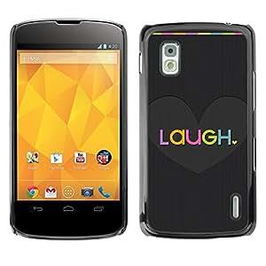 For LG Google NEXUS 4 / Mako / E960,S-type® Heart Brushed Carbon Fiber Love - Arte & diseño plástico duro Fundas Cover Cubre Hard Case Cover