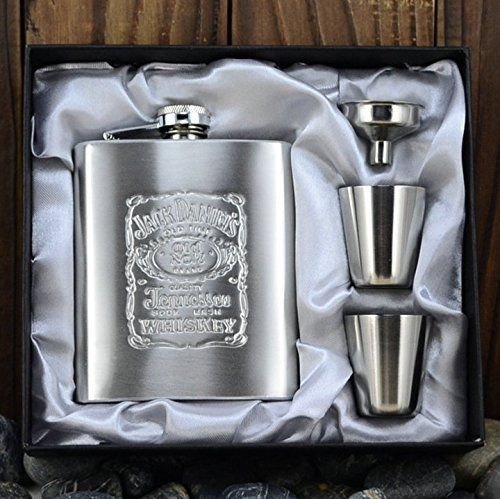 JD Steel, 7-Oz Stainless Steel Liquor Vodka Whiskey Pocket Flagon Set, Hip Alcohol Flask with Funnel, 2 Cups, Giftbox