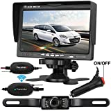 Emmako Backup Camera Wireless and Monitor Kit For Car/SUV/Truck/Van/Camper 9V-24V Reverse Camera System Night Vision IP68 Waterproof Licence Plate Camera 7 TFT Display With Guide Lines